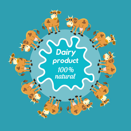 Milk cows. Dairy natural product Concept. Dairy farming concept. Nutritional product. Fresh farm organic product. A  herd of cows. Milk splashes. Vector illustration Illustration