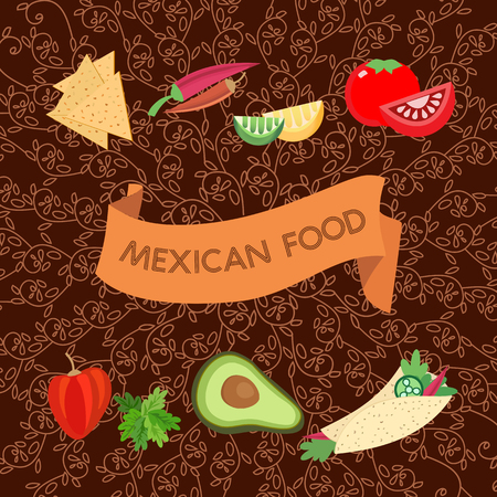 ethnical: Mexican style. Mexico food Concept. Menu layout template. Chili pepper. Restaurant flye. Doodle ethnical ornament background. Vector Illustration