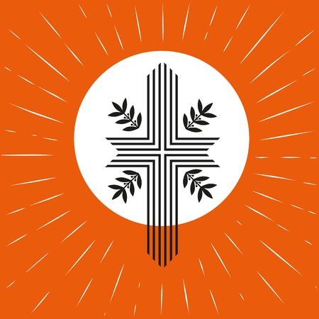 pentecost: Church concept. Pentecost Trinity Sunday. Christian Holy spirit Jesus God. Church sacrament symbol. Biblical cross, holy spirit. Vector illustration.