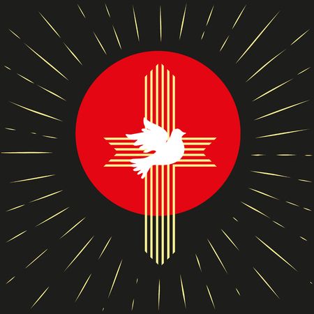 biblical: Pentecost Trinity Sunday. Christian holiday concept. Holy spirit Jesus God. Church sacrament symbol. Biblical tongues of fire, cross, holy spirit dove. Vector illustration. Illustration