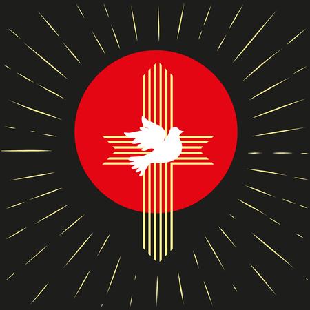 Pentecost Trinity Sunday. Christian holiday concept. Holy spirit Jesus God. Church sacrament symbol. Biblical tongues of fire, cross, holy spirit dove. Vector illustration. Illustration