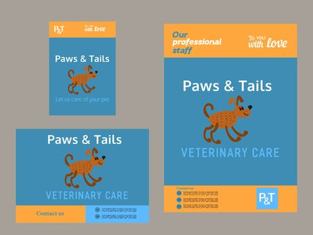 pussy cat: Set of templates. Brochure and flyer template. Pet care concept. Pussy cat pet care service. House sitting service. Vector illustration.