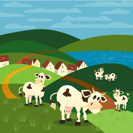 jersey cow: Milk cow. Dairy natural product Concept. Herd of Jersey, Holstein cows. Rural landscape. Village houses on lake bank. Green hills, grass. Vector illustration