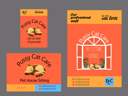 pussy cat: Set of advertising flyers. Pet care concept. Template for Pussy cat pet care service. House sitting service. Vector illustration. Illustration