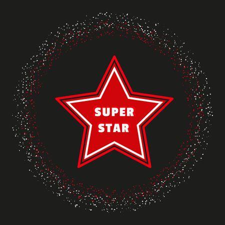 awarding: Super star. Award banner background. Shimmering circle. Success Superstar Victory Winning Vector Concept. Reward ceremony decoration. Movie, music awarding layout. Vector illustration Illustration