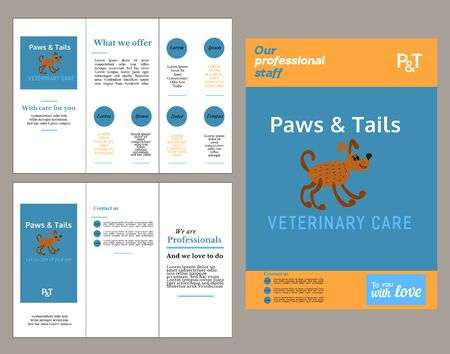 pussy: Set of templates. Brochure and flyer template. Pet care concept. Pussy cat pet care service. House sitting service. Vector illustration.