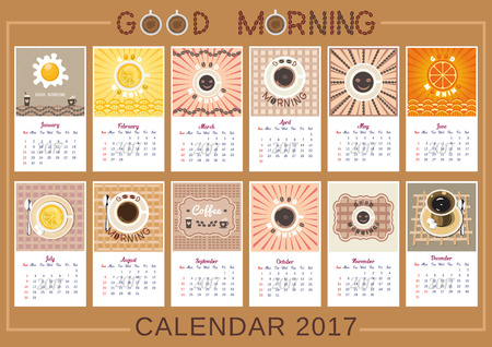 2017 Calendar. Template of year calendar. Good morning theme with cup of coffee, tea, fried eggs and citrus juice. Design idea for advertising. Week starts Sunday. Easy to edit. Vector illustration