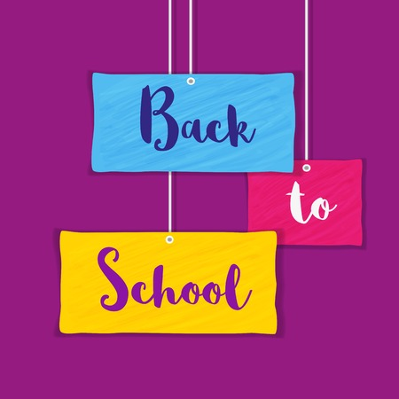 clamps: Back to school banner concept. Idea of welcome poster. Elements of border frame. Colorful papers hanging on clamps. Announcement to start study. Invitation to school background. Vector illustration