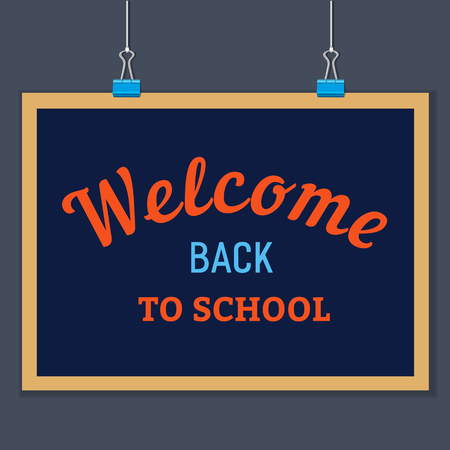 clamps: Back to school banner concept. Idea for welcome poster with element of border frame. Board hanging on clamps. Announcement to start study. Iinvitation to school background. Vector illustration