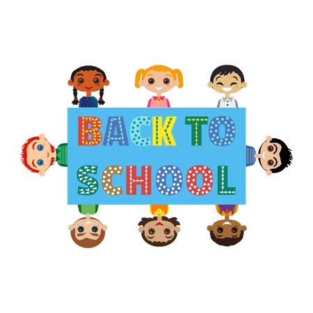 felicitation: Back to school banner concept. Idea for typography welcome poster with cute characters in frame. Happy kids of differebt nations. Invitation to elementary school background. Vector illustration