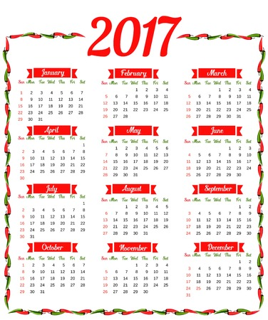 mexican flag: 2017 Calendar. Template of calendar 2017 with hot chili pepper border in colors of Mexican flag. Design idea for advertisement. Week starts Sunday. Easy to edit. Vector illustration Illustration
