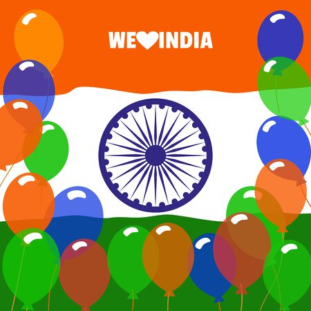 national holiday: India republic independence. National holiday. Independence day celebration concept. Colors of Indian tricolor flag with Ashoka Chakra. Unique symbols. Patriotic event background. Vector illustration