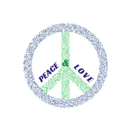 social movement: Peace symbol. Pacifist logo. Freedom concept. Antiwar international movement emblem. Social protest banner. Template for demonstration poster. Vector illustration Illustration