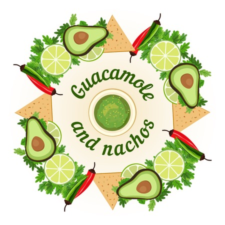 Mexican food style. Mexican cuisine Concept. Traditional menu. Lime cilantro avocado guacamole sauce nachos. Festa meal. Mexico restaurant and cafe kitchen. Chili dish. Vector Illustration