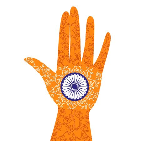 India republic independence. National holiday celebration concept. Colors of Indian flag with blue Ashoka Chakra. Unique symbol. Hand with henna tattoo. Patriotic event background. Vector illustration Illustration