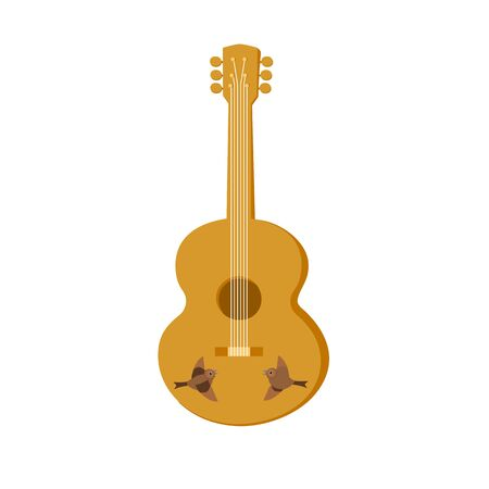 Template Design for poster with acoustic guitar isolated. Folk gypsy musical instrument. Cartoon style. Idea for Live Music Festival, event show, entertainment background element. Vector illustration.