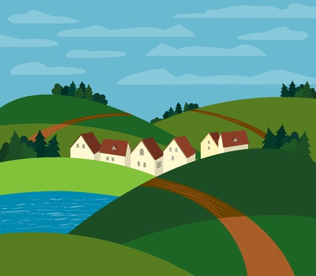 rural road: Green landscape. Farm houses silhouettes. Country winding road on meadows and fields. Rural community. Lake view among hills. Village countryside scene background. Vector Illustration