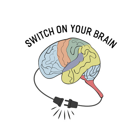 unplug: Inspirational Motivated Quote Switch on your brain. Typography Poster Concept with motivational words. Stylized Human brain. Unplugged electric cord and outlet. Vector Illustration