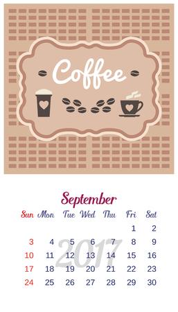 september calendar: 2017 Calendar. Template of September calendar. Good morning theme with cup of coffee, beans. Design idea for advertising. Week starts Sunday. Easy to edit. Vector illustration Illustration
