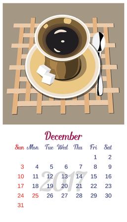 december calendar: 2017 Calendar. Template of December calendar. Good morning theme with cup of coffee and sugar. Design idea for advertising. Week starts Sunday. Easy to edit. Vector illustration Illustration