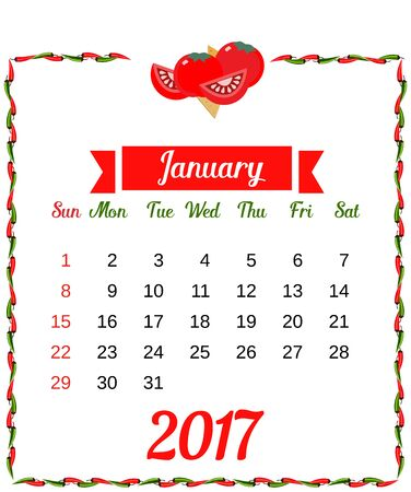 2017 Calendar. Template of monthly calendar for January with hot chili pepper border in colors of Mexican flag and set of vegetables. Week starts Sunday. Easy to edit. Vector illustration Vectores