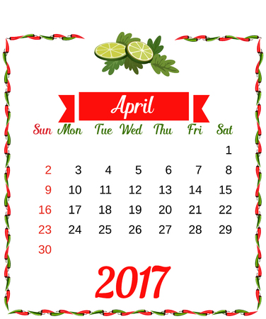 corporative: 2017 Calendar. Template of monthly calendar for April with hot chili pepper border in colors of Mexican flag and set of vegetables. Week starts Sunday. Easy to edit. Vector illustration