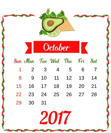 mexican flag: 2017 Calendar. Template of monthly calendar for October with hot chili pepper border in colors of Mexican flag and set of vegetables. Week starts Sunday. Easy to edit. Vector illustration