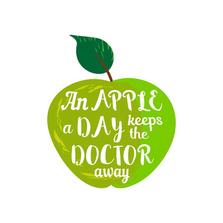 Inspirational Motivated Quote. Proverb an apple a day keeps the doctor away. Motivational Poster Concept. Green apple healthy fruit. Template for banner with quotation. Vector Illustration Illustration