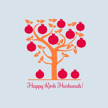 Rosh Hashanah Jewish New Year concept. Traditional holiday symbols. Illustration