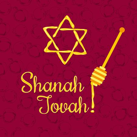 shalom: Rosh Hashanah Jewish New Year concept. Traditional holiday symbols. Illustration