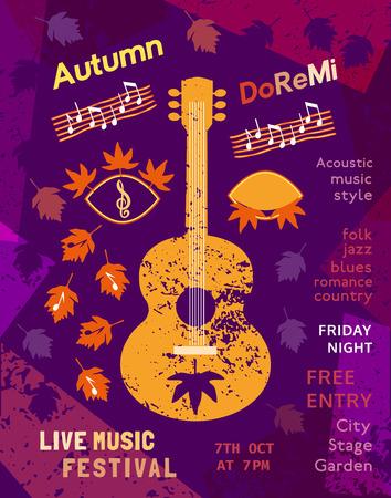 unplug: Template Design Poster with acoustic guitar silhouette autumn leaves. Design idea for Live Music Festival show promotion advertisement. Vintage style.