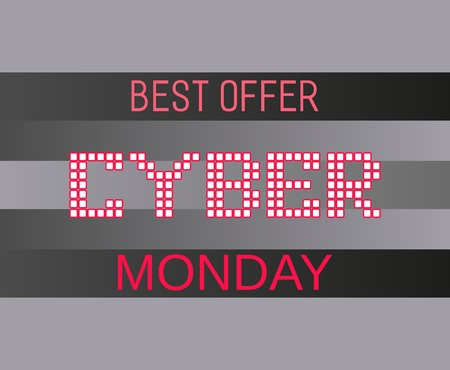 super hot: Super sale Concept. Cyber Monday best offer. Typography promotion poster on special discount. Design idea element of season hot deal campaign banner.