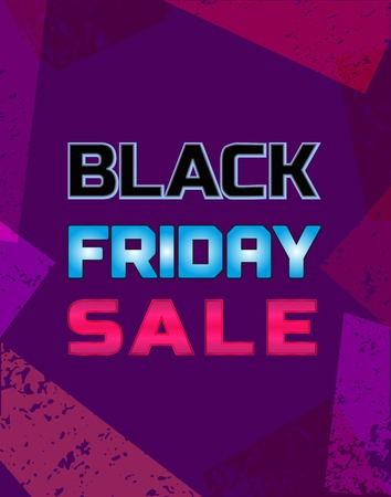 neonlight: Black Friday Super sale Concept. Big Discount offer promotion. Design element of season hot deal campaign banner. Neonlight letters. Illustration