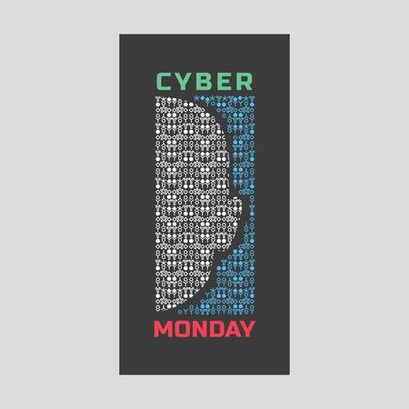super hot: Super sale Concept. Cyber Monday special bonus. Template promotion poster on discount offer. Design idea element of season hot deal campaign banner.