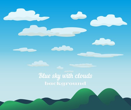 green mountain: Green hills blue sky concept. Cloudscape with fluffy clouds background. Cloudy daylight empty  green mountain grass landscape in sunny weather. Bright natural colors.