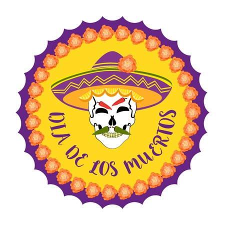 all souls' day: Mexican Dia de los Muertos. Day of the Dead sugar skull, flowers. Traditional holiday celebration emblem. Design of festival party banner sticker with cavalera symbol background. Vector illustration Illustration
