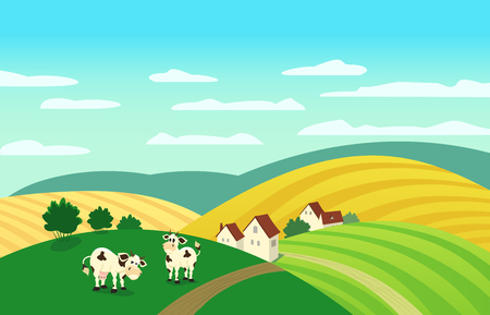 rural scene: Autumn landscape. Cartoon farm houses silhouettes. Caws on meadow and winding road on fields. Rural community view among hills. Village countryside scene background. Vector Illustration Illustration