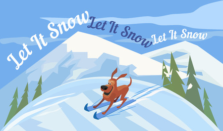 let it snow: Holiday wishes Let it Snow. Cartoon cute skiing dog. New Year Card concept. Snowing Mountains on background. Template design element of Merry Christmas season greeting card. Vector Illustration. Illustration