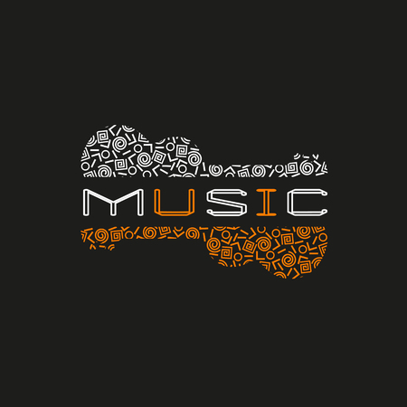 Template Design Poster with doodle acoustic guitar silhouette. Vintage music icon. Black orange white musical instrument in Swiss international style. Modern Memphis pattern. Vector illustration