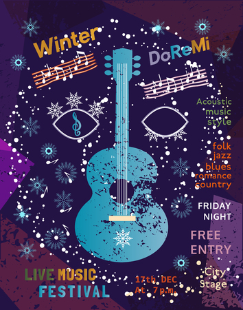 winter blues: Template Poster Design with acoustic guitar silhouette. Idea for seasonal Winter Live Music Festival show. Musical event promotion  advertisement background. Vector illustration. Illustration