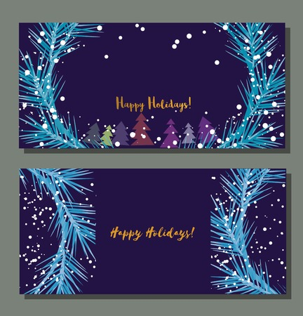 year greetings: Set of horizontal festive vector banners. Season greetings template. Happy holidays. Vintage retro style. Design Element for Happy New Year invitation card. Christmas background. Vector illustration.