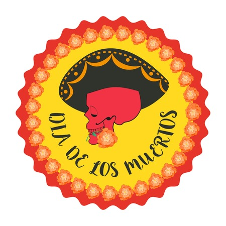 Mexican Dia de los Muertos. Day of the Dead sugar skull, flowers. Traditional holiday celebration emblem. Design of festival party banner sticker with cavalera symbol background. Vector illustration Illustration