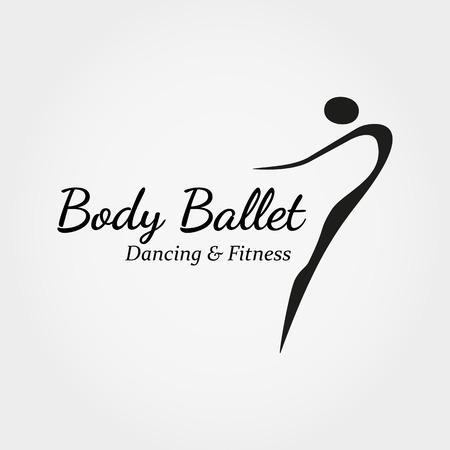 ダンス アイコン コンセプト。バレエ スタジオのデザイン テンプレートです。フィットネス ダンスのポーズで抽象的な人バレリーナのシンボルとダ  イラスト・ベクター素材