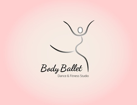 dancing pose: Dance icon concept. Body Ballet studio design template. Fitness training class banner background with symbol of abstract ballerina in dancing pose. Vector illustration.