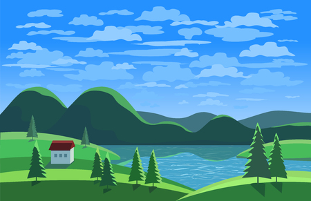Green landscape. Mountain river in the valley. Houses on river bank. Lake view among green hills and pine trees. Sunny daylight scene background. Cartoon Vector Illustration