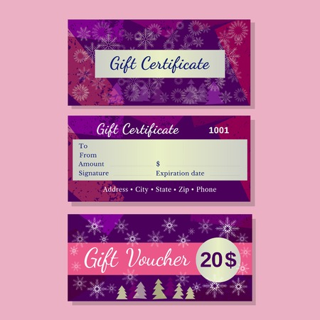 christmas bonus: Set of templates christmas gift certificate. Design idea of front back side bonus voucher. Discount coupon letterhead, promotional card background. Organized layers easy to edit. Vector illustration