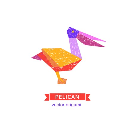 Tropical bird icon. Abstract pelican. Freehand drawn stylized emblem. Template of design. Colorful symbol sign isolated on white. Textured grunge element banner background. Vector illustration