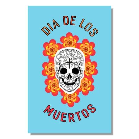 Mexican Dia de los Muertos. Day of the Dead sugar skull, flowers. Traditional holiday celebration emblem. Design of festival party banner sticker with cavalera symbol background. Vector illustration Illustration