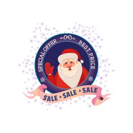 Winter sale concept. Best price holiday season badge with Santa. Special offer promotion emblem. Design element Christmas decoration. Background for festive hot deal advertisement. Vector illustration Illustration