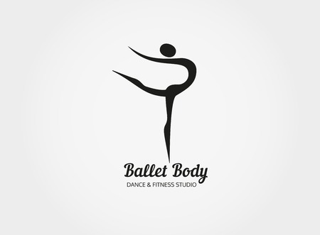 dancing pose: Dance icon concept. Ballet Body studio design template. People character . Fitness class banner background with sign symbol of abstract stylized ballerina in dancing pose. Vector illustration.